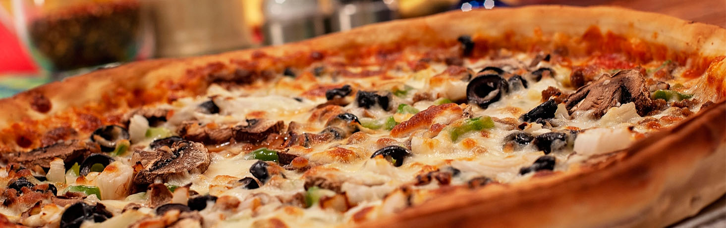 specialty pizzas at pizza shoppe with olives